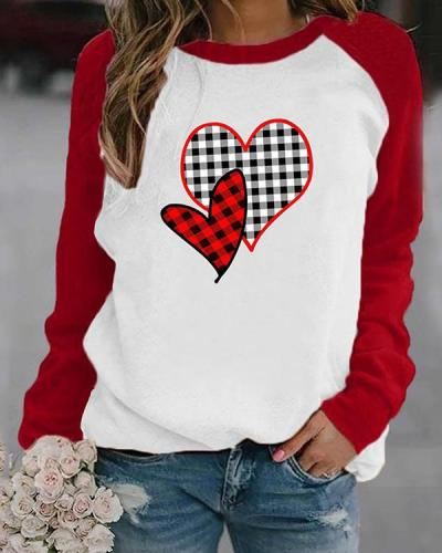 Heart Shaped Plaid Print Long Sleeves Color Block T-shirt