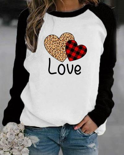 Love Letter And Heart Shaped Print Long Sleeves Color Block T-shirt