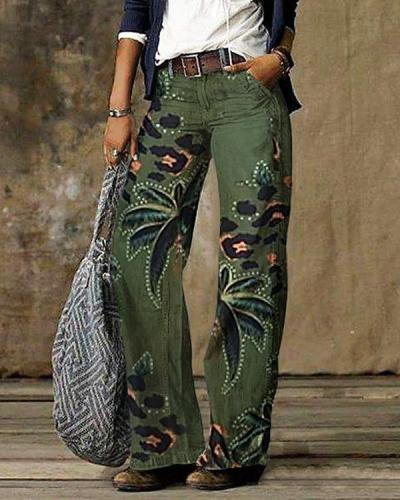 Copy Vintage Color Block Plaid Print Pocket Woman Pant Bottom