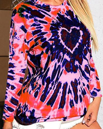 Tie Dye Heart O-Neck Long Sleeve Blouse