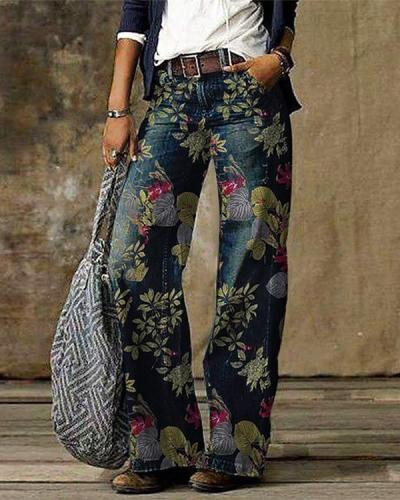 Blue Casual Vintage Floral Printed Pants