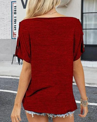Off-Shoulder Button Short Sleeve T-Shirt