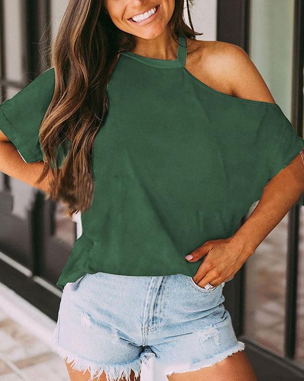 Women Off-Shoulder Short Sleeve Casual T-Shirt