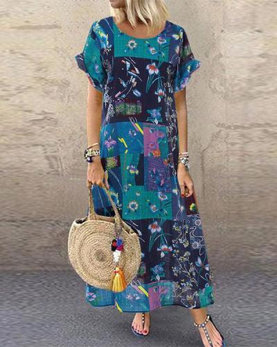 Bohemian Print Short Sleeve Summer Plus Size Dress