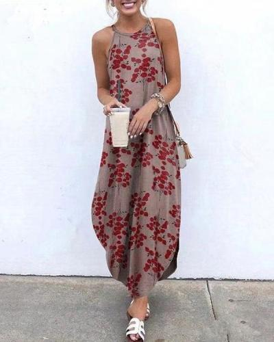 Floral Printed Sleeveless Maxi Dress