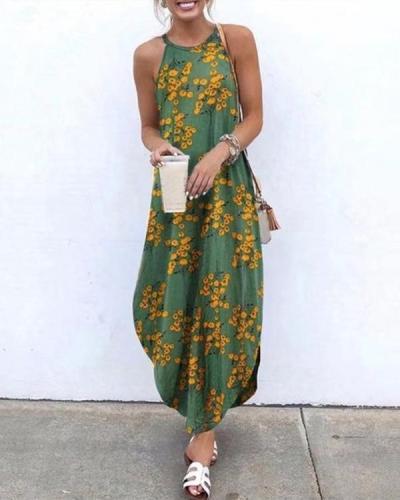 Floral Printed Sleeveless Maxi Dress