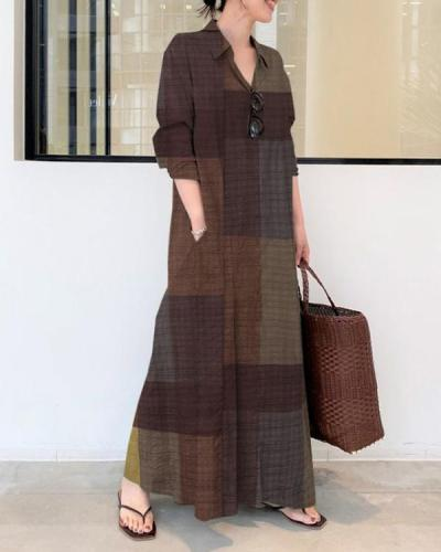 Casual Color Block Cotton Linen Shirt Collar Dress