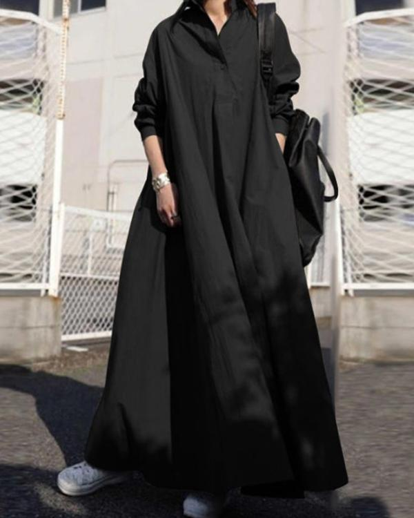 Solid Shirt Collar Loose Fit Big Hem Long Sleeve Maxi Dress