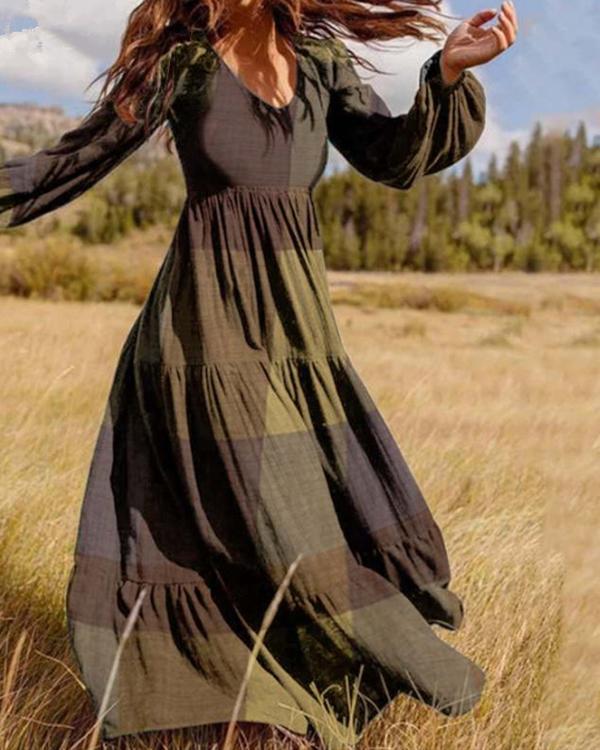 Colorblock A-Line Ruffle Hem Long Sleeve Maxi Dress