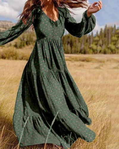 Floral Print A-Line Ruffle Hem Long Sleeve Maxi Dress