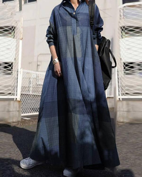 Shirt Collar Loose Fit Big Hem Long Sleeve Maxi Dress