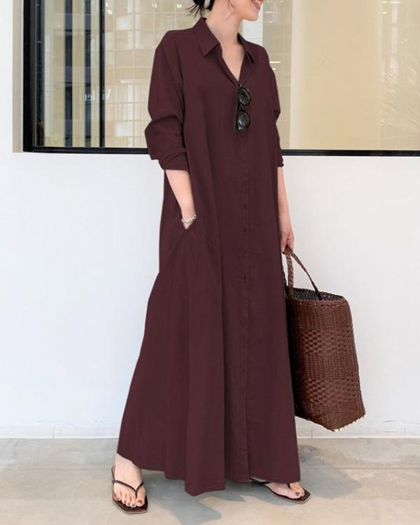Casual Solid Cotton Linen Shirt Collar Long Sleeve Maxi Dress