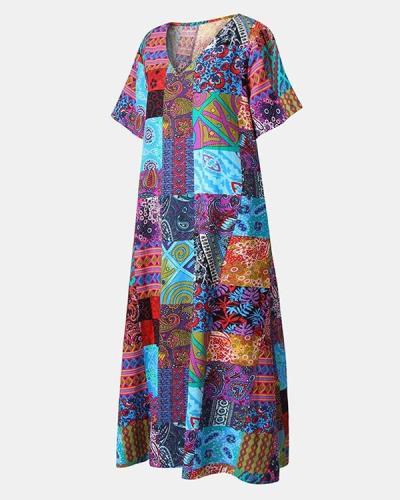 Ethnic Print V-neck Plus Size Vintage Dress
