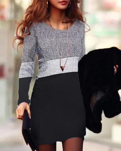 Round Neck Long Sleeve Bodycon Dress