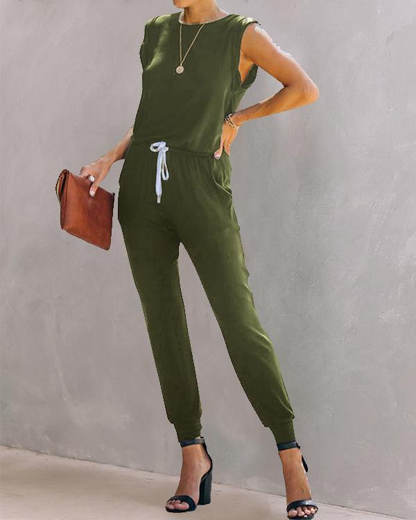 Women Casual Plain Color Sleeveless Jumpsuit