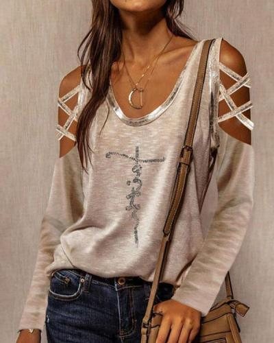 Hollow Out Cold Shoulder Long Sleeves Casual Letter Print Tops