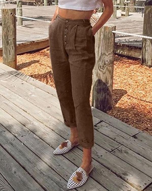 Women Plain Buttoned Pockets New Pants