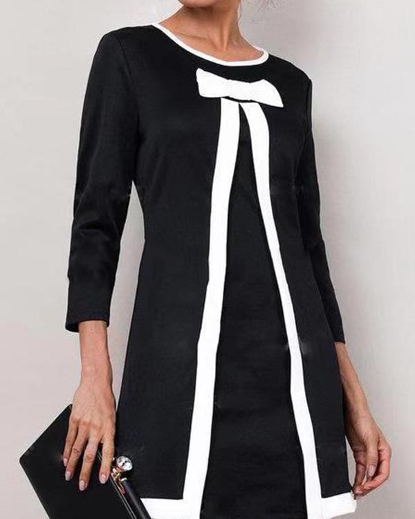 Solid Round Neckline 3/4 Sleeves Above Knee A-line Dress