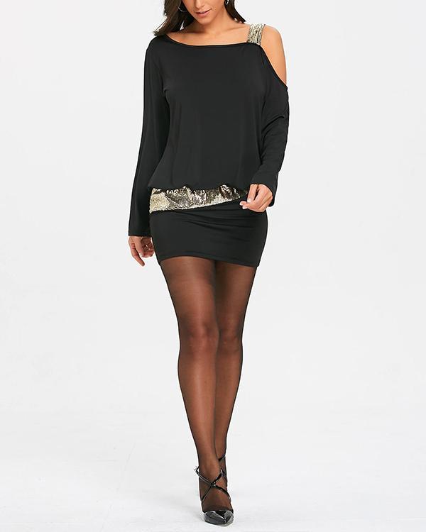 Off Shoulder Bodycon Long Sleeve Dress