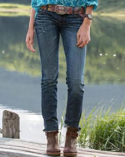 Women Vintage Denim Casual Plain Pants