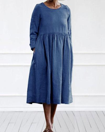 Casual Linen Cotton Plain Color Long Sleeve Midi Dress