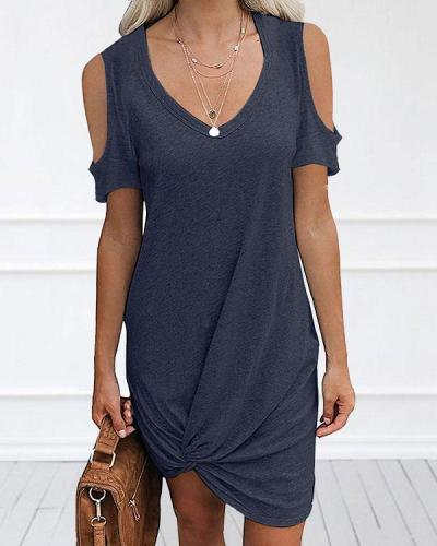 Women Cold Shoulder V Neck Irregular Hem Mini Dress