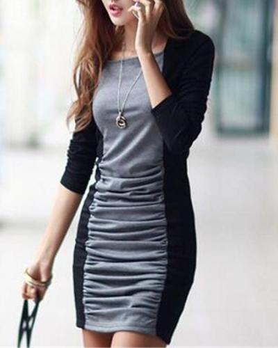 Color Block Long Sleeve Bodycon Dress