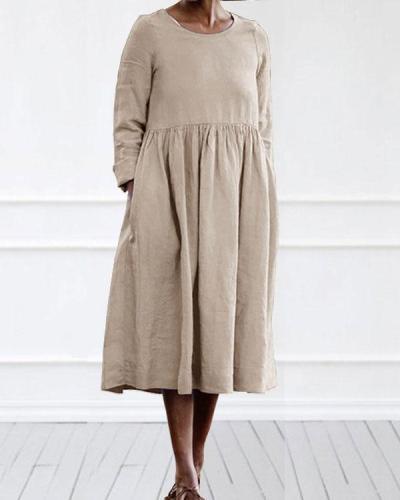 Casual Linen Cotton Plain Color Long Sleeve Midi Dress