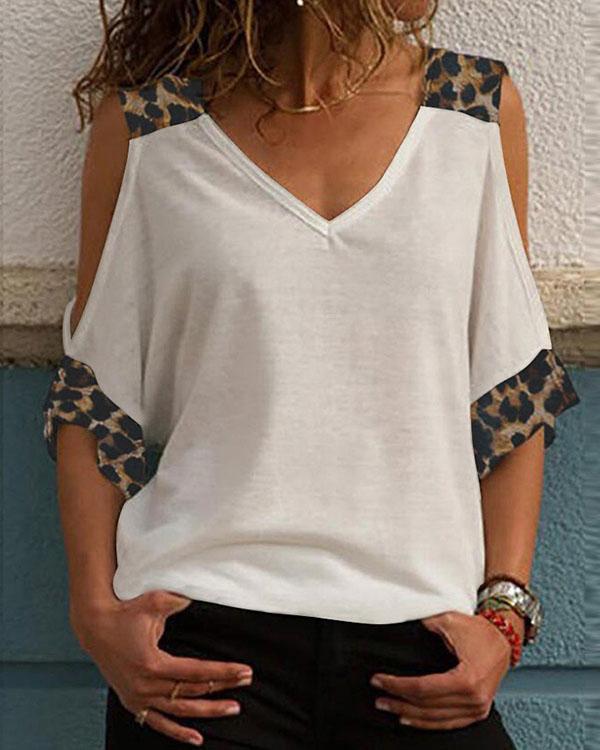 Leopard Cold Shoulder Short Sleeve V Neck Blouses