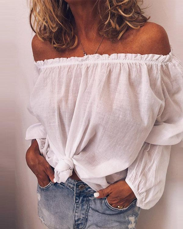 Casual Linen Cotton Off Shoulder Long Sleeve Solid Shirts & Tops