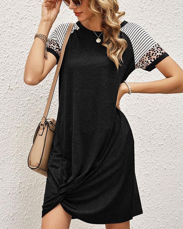 Women Stripe Leopard Contrast Casual Short Sleeve Mini Dress