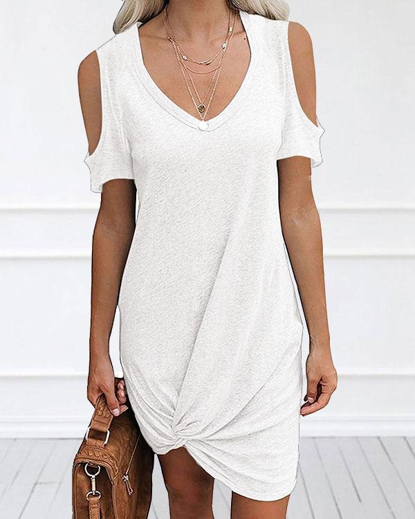 Women Cold Shoulder V Neck Irregular Hem Mini Dress