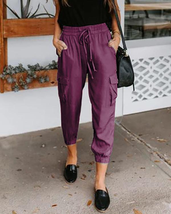 Casual Style Elastic Waistband Multi-Pocket Drawstring Pants
