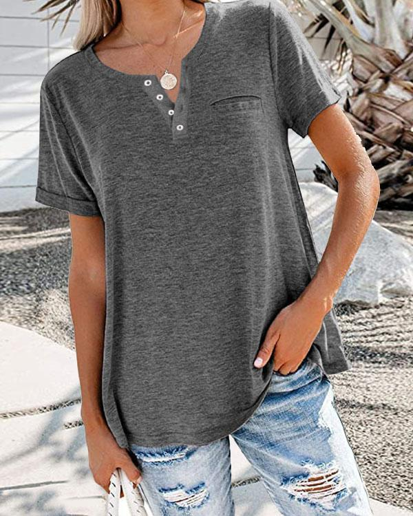 Solid Basic V Neck Button Casual Short Sleeve T-shirt