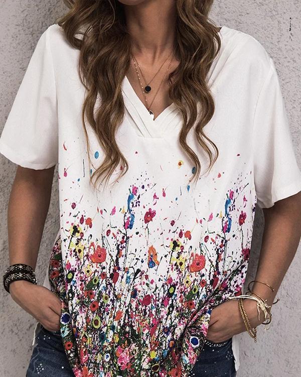 Floral-Print Cotton-Blend Casual V Neck Shirts & Tops