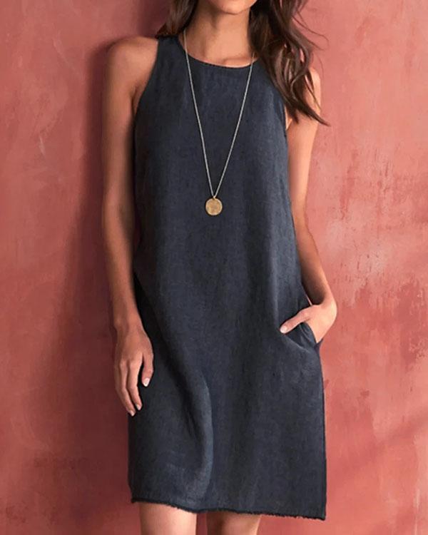 Casual Sleevless Woman Linen Dresses