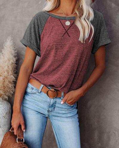 Contrast Basic Casual Short Sleeve T-shirt