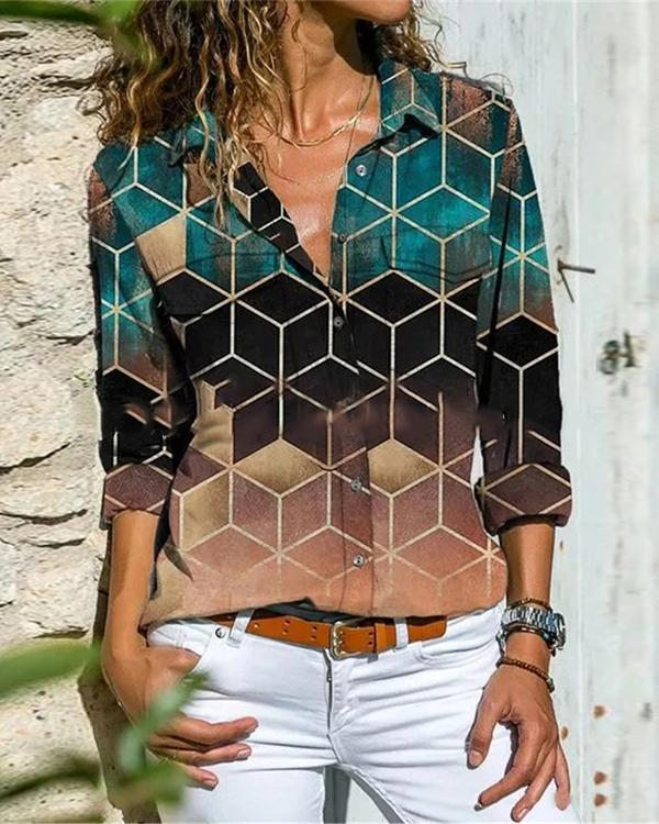 Geometric Lapel Long Sleeve Button Up Blouses