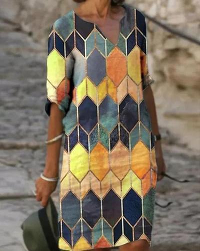 Color Block V Neck Short Sleeve Midi Dress