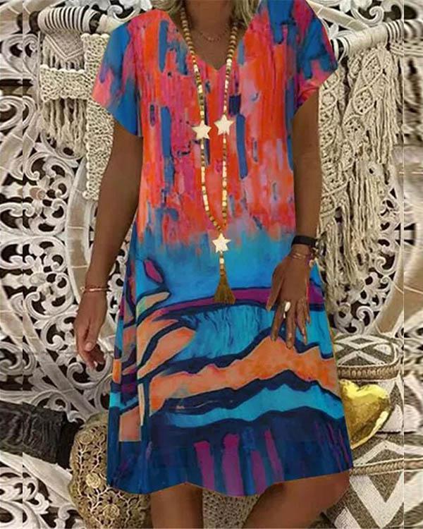 Multicolor Graffiti V Neck A-line Short Sleeve Midi Dress