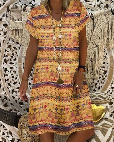 Tribal Short Sleeve A-Line Printed Dresses