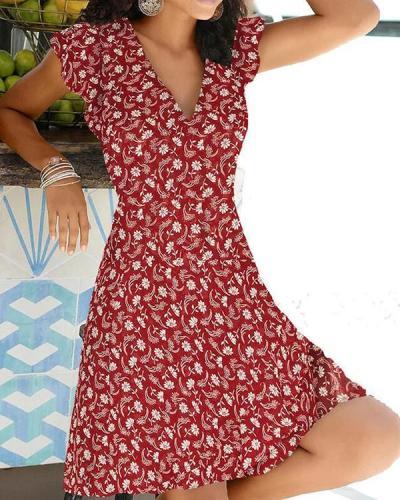 Floral Slim Pullover Women's Dress Short Sleeve Floral Dresses