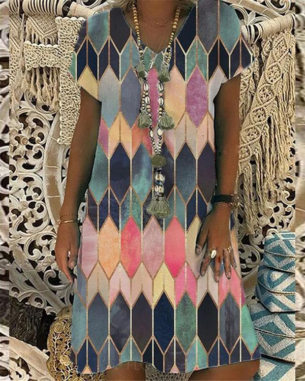Color Block V Neck A-line Short Sleeve Midi Dress