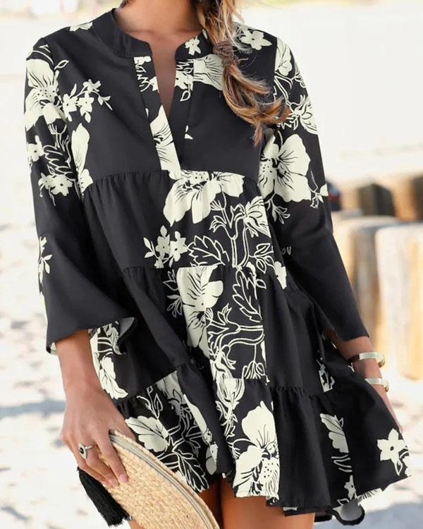 Loose Fit V Neck Ruffle Sleeve Floral Dress
