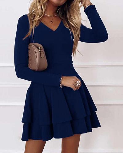 Solid Long Sleeves A-line Above Knee Elegant Mini Dresses