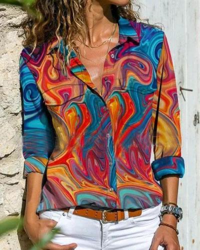Colorful Geometric Lapel Long Sleeve Button Up Blouses