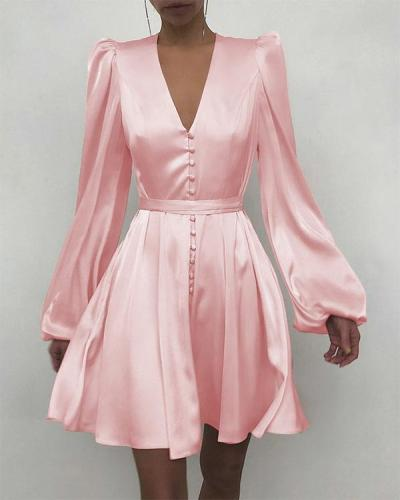 Plain Puff Sleeve Ruched Button Front Dress