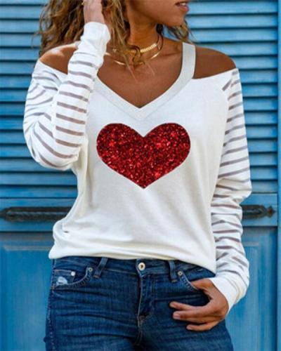 Women Long Sleeve Print V Neck Shirts&Tops