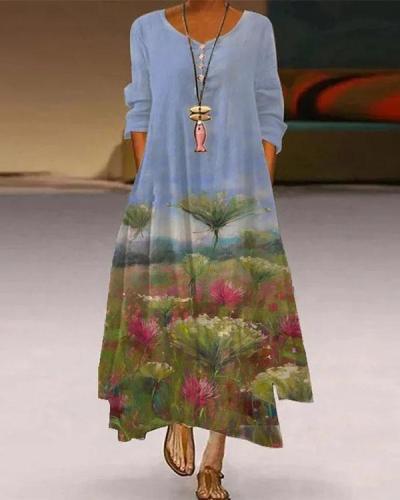 Women Crew Neck Casual Dandelion Maxi Dresses