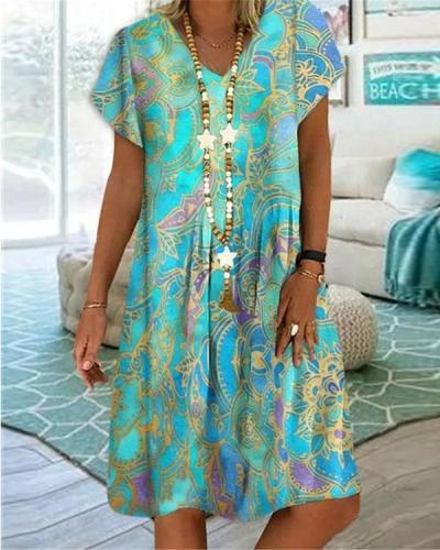 Floral Print V Neck A-line Short Sleeve Midi Dress